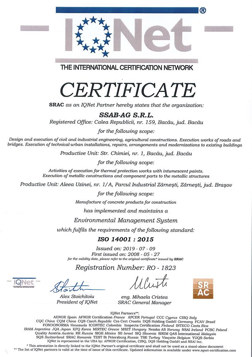 Certificat SRAC Sistem De Management De Mediu ISO 14001:2015