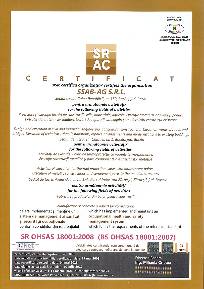 Certificat SRAC Sistem De Management Al Sănătății și Securității Ocupaționale BS OHSAS 18001:2007