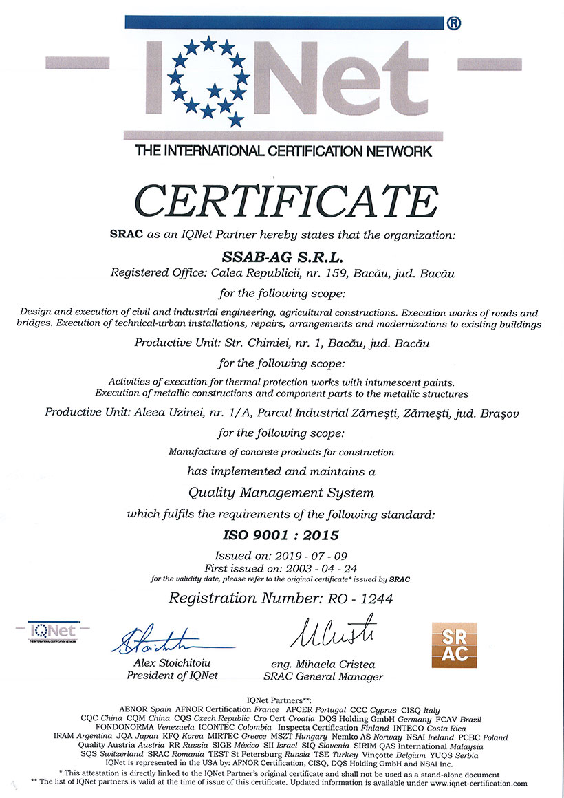 Certificat SRAC Sistem De Managementul Calității ISO 9001:2015