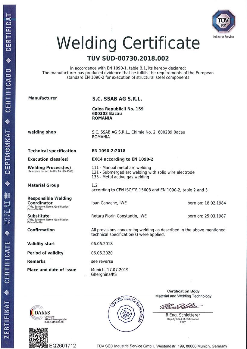 Welding Certificate EXC4 According To EN 1090-2